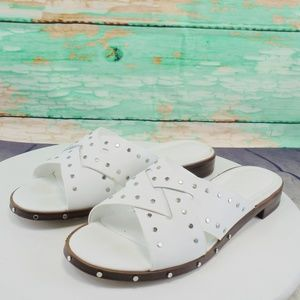 Nine West Clermont White Leather Slides
